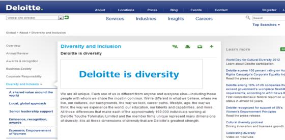 Mensaje de Reclutamiento en Deloitte: Deloitte es Diversidad