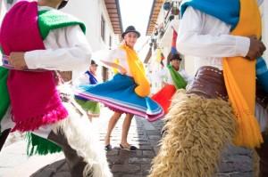 Quito, Ecuador --- Traditional Ecuadorian dancers, Quito. Ecuador --- Image by © Hugh Sitton/Corbis