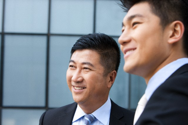 Smiling businessmen