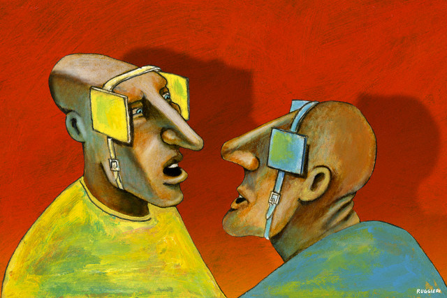 Two men with blinders on